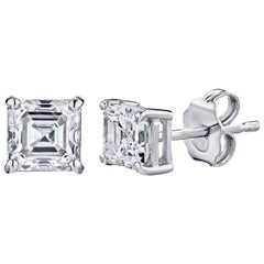 GIA Certified Platinum Asscher Cut Diamond Studs 1.00 Carat Total