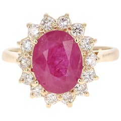 3.82 Carat Oval Cut Ruby Diamond 14 Karat Yellow Gold Ballerina Ring
