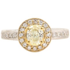 Yellow Oval Diamond Engagement Ring 0.93 Carat in 18 Karat White Gold