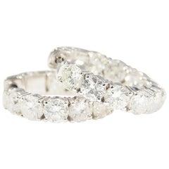 Diamond Hoop Earrings 5.01 Carat White Gold 14 Karat