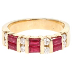 1.23 Carat Ruby Diamond 14 Karat Yellow Gold Band
