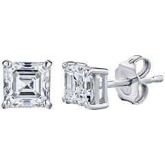 GIA Certified Platinum Cushion Cut Diamond Studs 0.50 Carat Total
