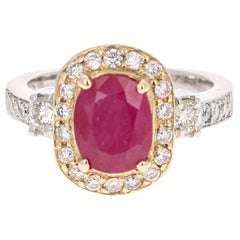 2.78 Carat Ruby Diamond 14 Karat White Yellow Gold Engagement Ring
