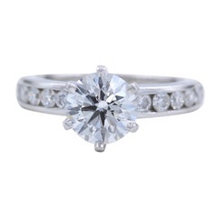Tiffany & Co. Round Engagement Ring Solitaire Diamond Band 1.73 Carat Platinum