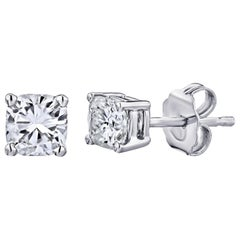 GIA Certified Platinum Cushion Cut Diamond Studs 0.75 Carat Total