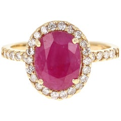 3.04 Carat Oval Cut Ruby Diamond 14 Karat Yellow Gold Engagement Ring