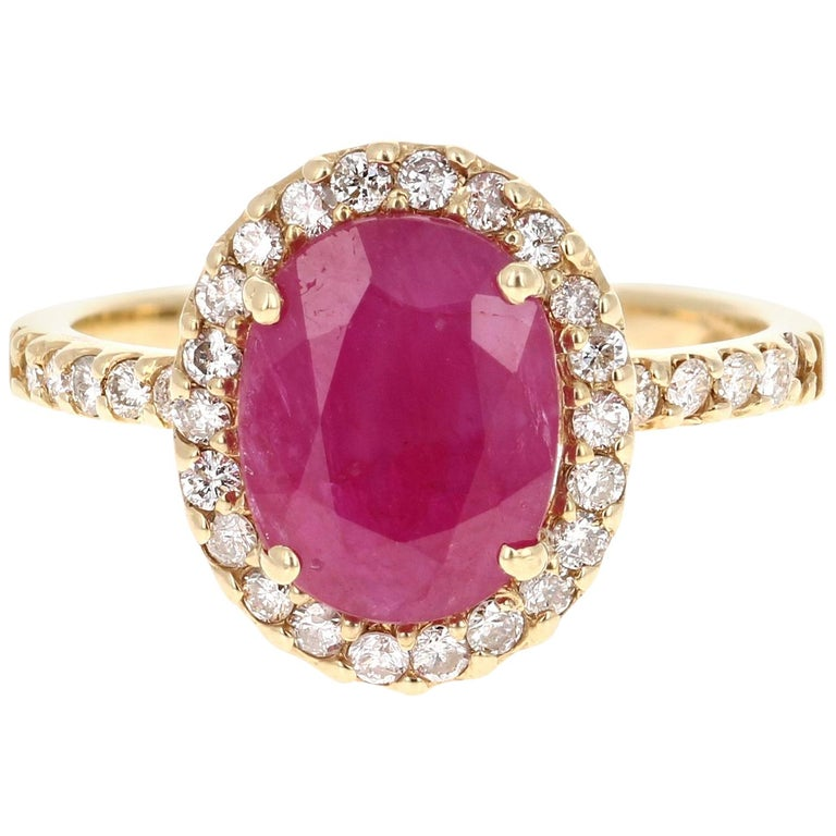 3.04 Carat Oval Cut Ruby Diamond 14 Karat Yellow Gold Engagement Ring For Sale