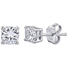 GIA Certified Platinum Cushion Cut Diamond Studs 1.00 Carat Total
