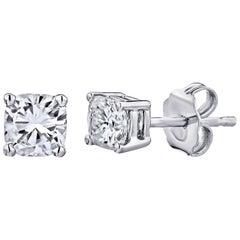 GIA Certified Platinum Cushion Cut Diamond Studs 1.00 Carat Total
