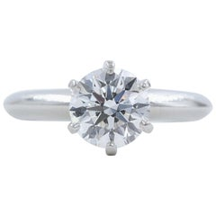 Tiffany & Co. Round Diamond Engagement Ring 1.23 Carat GVS2 Platinum