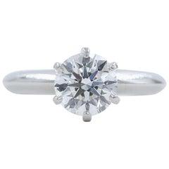 Tiffany & Co. Runder Diamant Verlobungsring 1,23 Karat GVS2 Platin