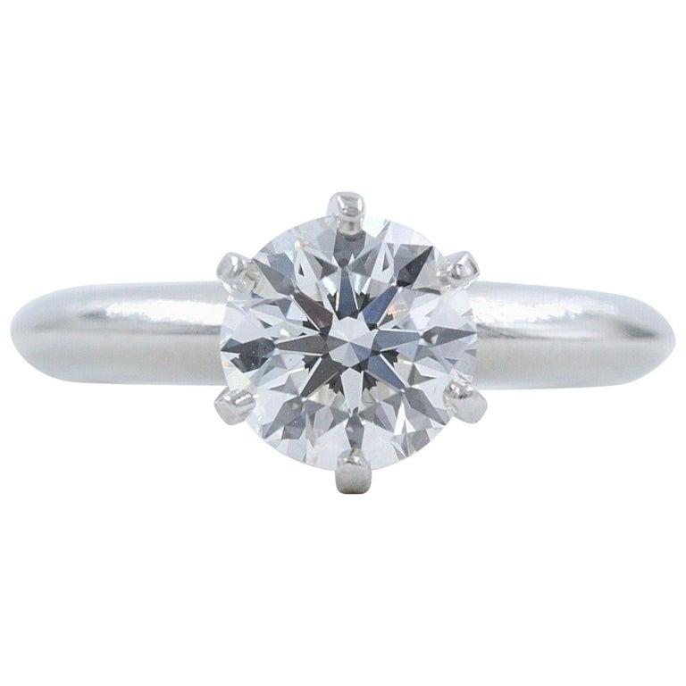 Tiffany & Co. Round Diamond Engagement Ring 1.23 Carat GVS2 Platinum For Sale