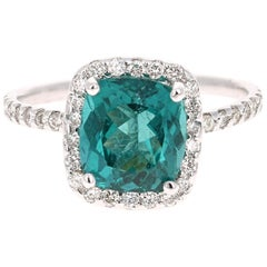 3.30 Carat Apatite Diamond Ring 14 Karat White Gold Ring