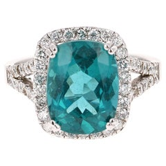 5.42 Carat Apatite Diamond Ring 14 Karat White Gold Ring