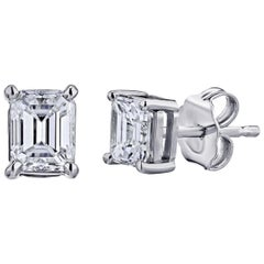 GIA Certified Platinum Emerald Cut Diamond Studs 0.75 Carat Total