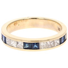 1.26 Carat Blue Sapphire Diamond 14 Karat Yellow Gold Band