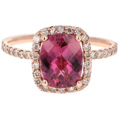 2.26 Carat Pink Tourmaline Diamond 14 Karat Rose Gold Ring