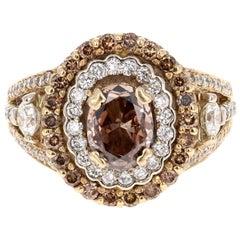 2.09 Carat Fancy Brown Natural Diamond Engagement Ring