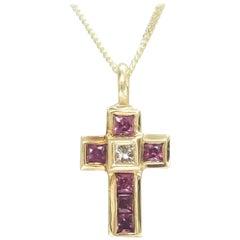 18 Karat Ruby Princess and Diamond Pendant