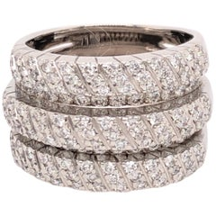 Five Band Pave White Gold Diamond Ring