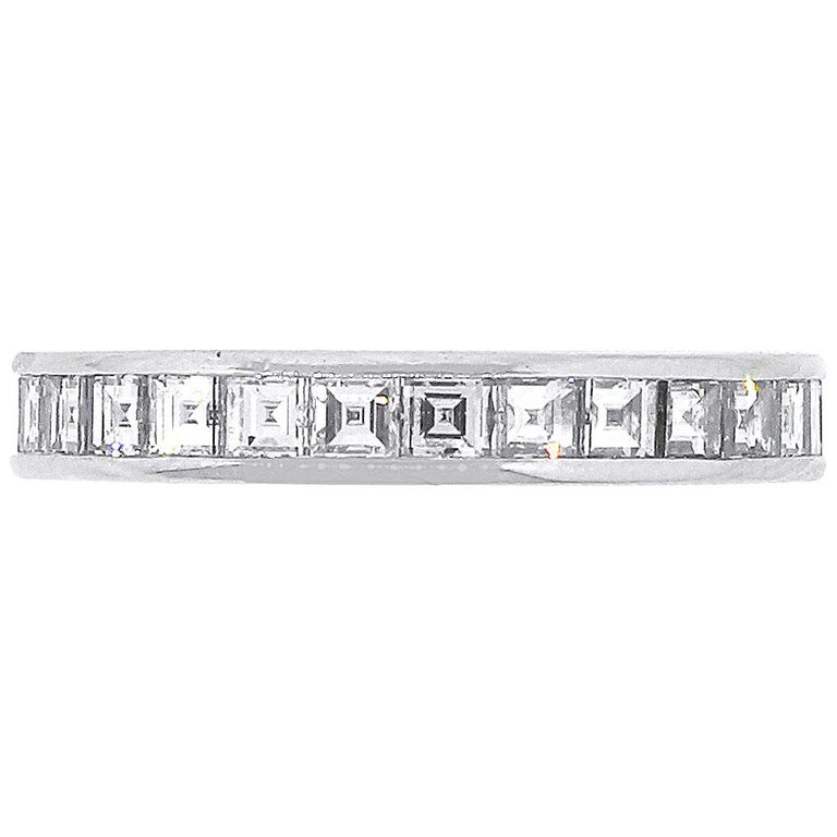Tiffany and Co. square step cut Channel Set Eternity Band For Sale