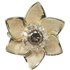 14 Karat Flower with Greenish Yellow .68pts. Diamond and .30pts. Halo