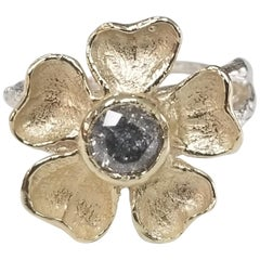 """14 Karat Gold Flower with a """"Salt N Pepper"""" .62pts, Diamond"""