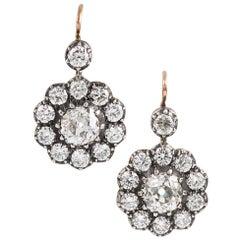 Antique Style Old European Cut Diamond Cluster Drop Earrings