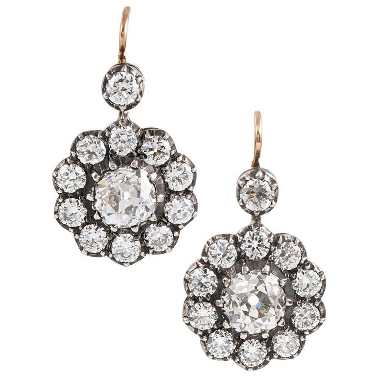 Antique Style Old European Cut Diamond Cluster Drop Earrings For Sale