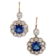 Antique Style Sapphire and Diamond Cluster Drop Earrings