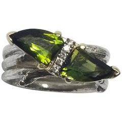 14 Karat Gold Green Tourmaline and Diamond Ring