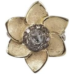 "14k Yellow Flower with ""Salt n Pepper"" .51pts. Diamond"