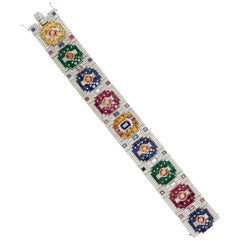 Jahan Multi-Color Precious Stone and Diamond Bracelet