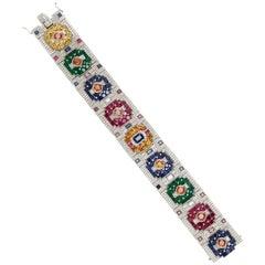 Jahan Multi-Color Precious Stone and Diamond Bracelet