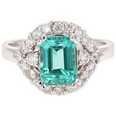3.34 Carat Emerald Cut Apatite Diamond White Gold Engagement Ring