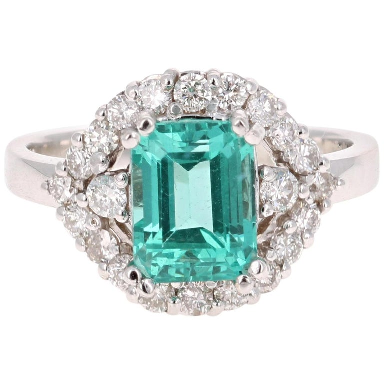 3.34 Carat Apatite Diamond White Gold Cocktail Ring For Sale