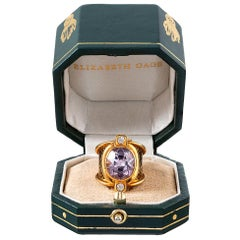 Kunzite, Diamond and Enamel Ring, Signed Elizabeth Gage