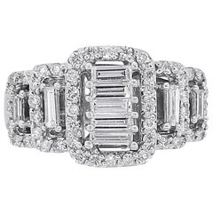 Baguette and Round Brilliant Diamond Ring