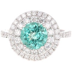 3.42 Carat Round Cut Apatite Diamond White Gold Engagement Ring