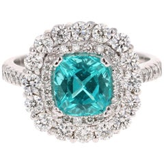 3.41 Carat Cushion Cut Apatite Diamond White Gold Engagement Ring