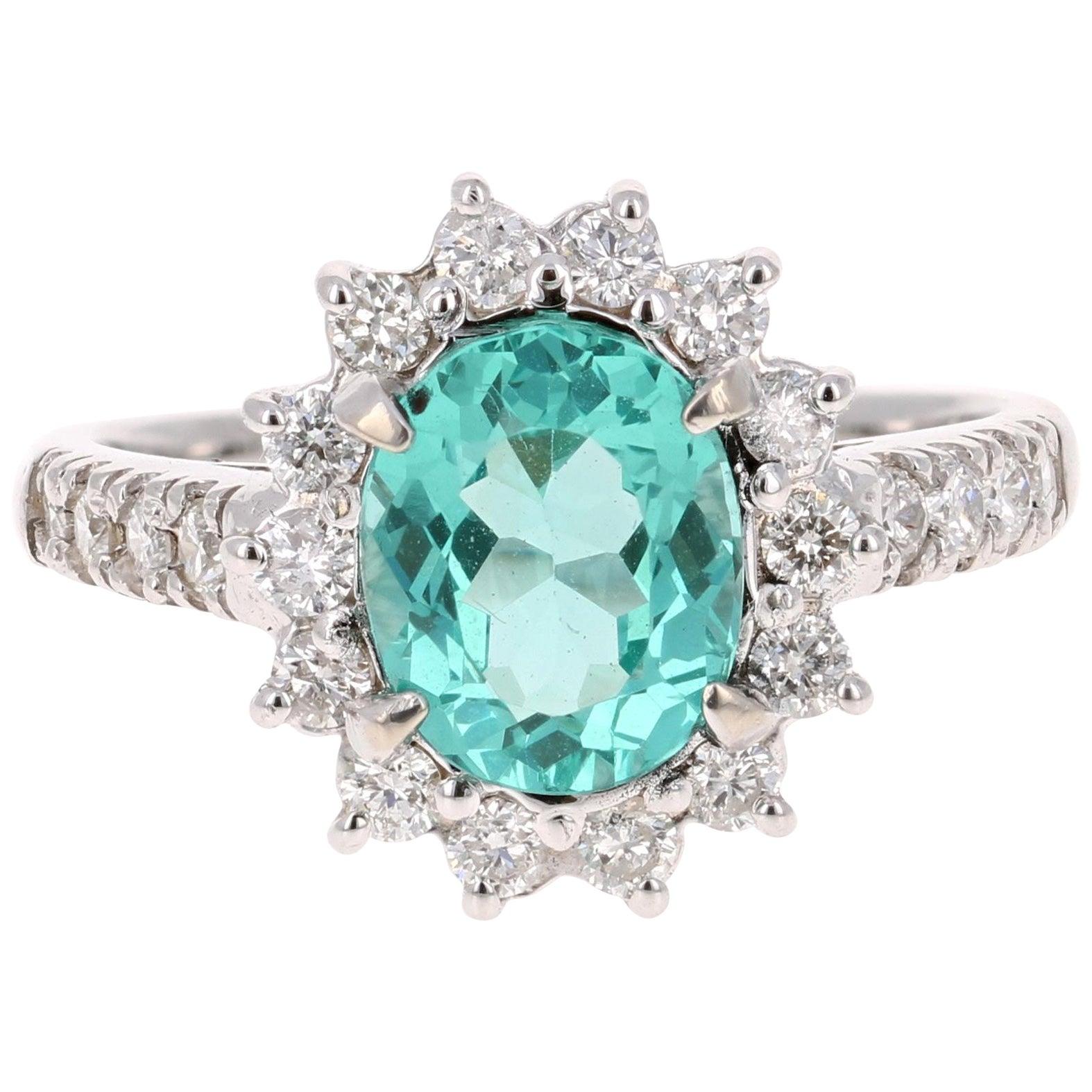 2.81 Carat Apatite Diamond White Gold Engagement Ring