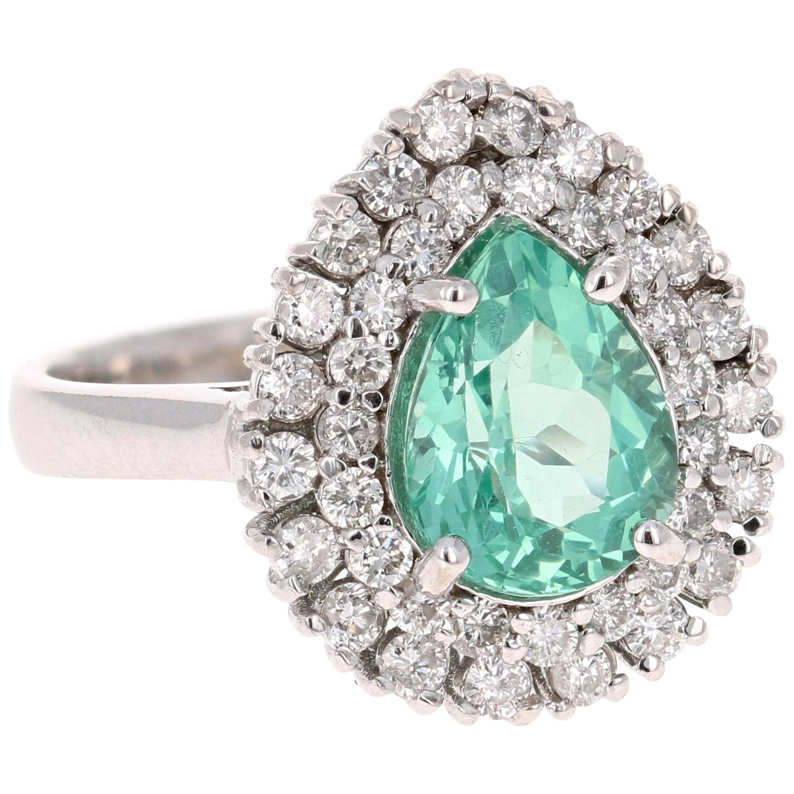 3.27 Carat Apatite Diamond 14K White Gold Cocktail Ring