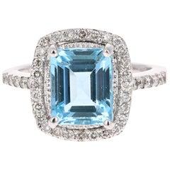 4.44 Carat Emerald Cut Aquamarine Diamond White Gold Cocktail Ring