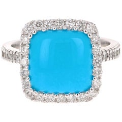 4.05 Carat Turquoise Diamond White Gold Cocktail Ring