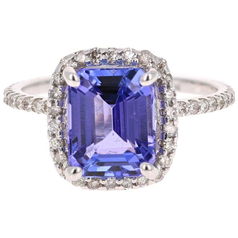 4.30 Carat Emerald Cut Tanzanite Diamond 14 Karat White Gold Engagement Ring For Sale