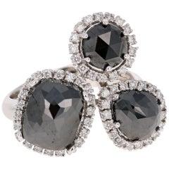6.80 Carat Black Diamond 14 Karat White Gold Cocktail Ring