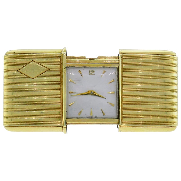 Movado Yellow Gold Desk Table Travel Clock For Sale