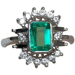 Estate Emerald Diamond Cocktail Ring 14 Karat White Gold