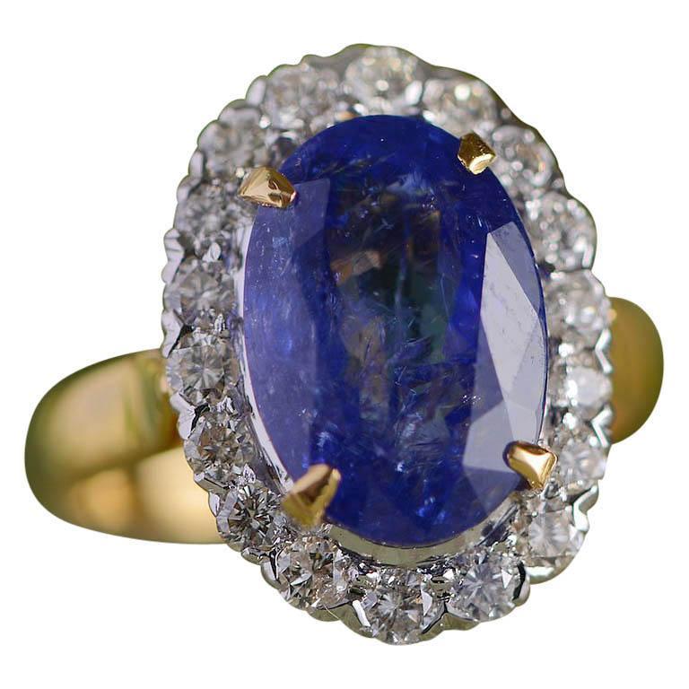 Emma Chapman 10.10ct Tanzanite Diamond 18 Karat Gold Cocktail Ring For Sale