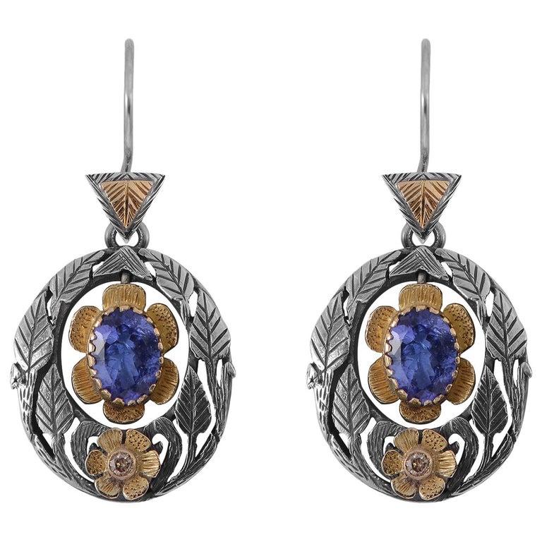 Emma Chapman Tanzanite Diamond Earrings For Sale